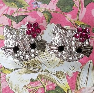 Crystal Kitty Cat earrings with dark pink flower